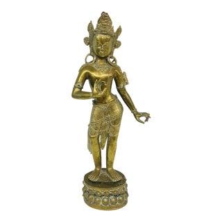 Brass Indian Goddess Sculpture For Sale
