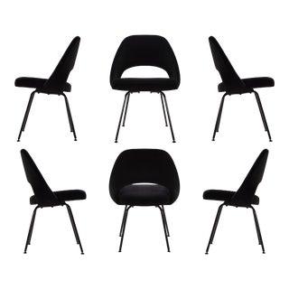 Original Vintage Saarinen Executive Armless Chairs, Custom Restored Black Edition - Set of 6 For Sale