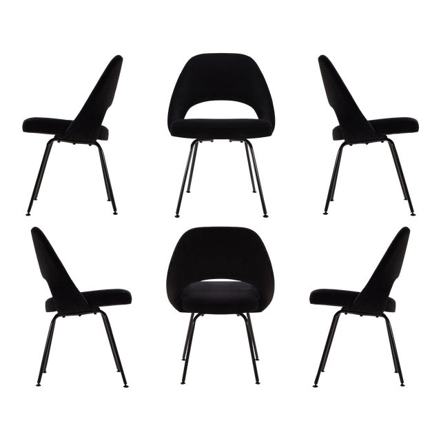 Original Vintage Saarinen Executive Armless Chairs, Custom Restored Black Edition - Set of 6 For Sale