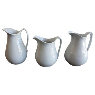 Collection of Three 19th Century Ironstone English Pitchers For Sale