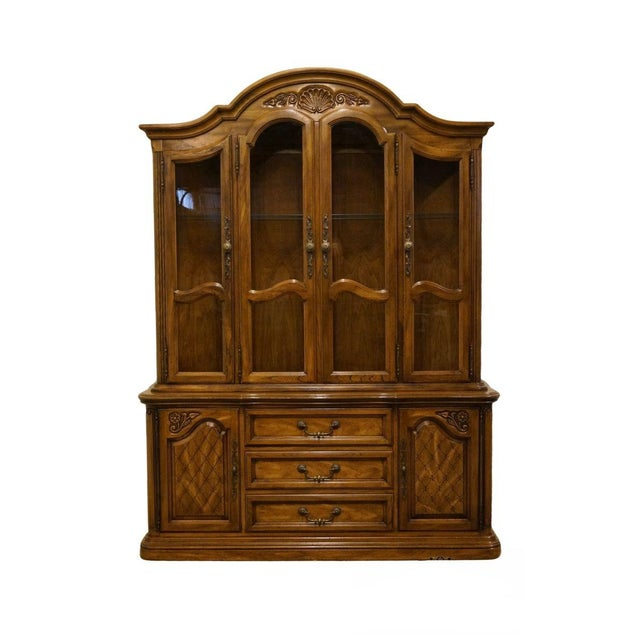20th Century French Country American Drew Illuminated China Cabinet For Sale - Image 13 of 13