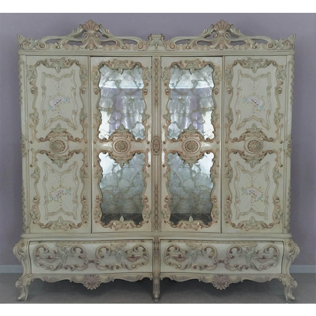 1970s Large Rare Romantic Antique Cream French Rococo Ornate Armoire Fancy Wardrobe W/ Mirrors For Sale - Image 5 of 9