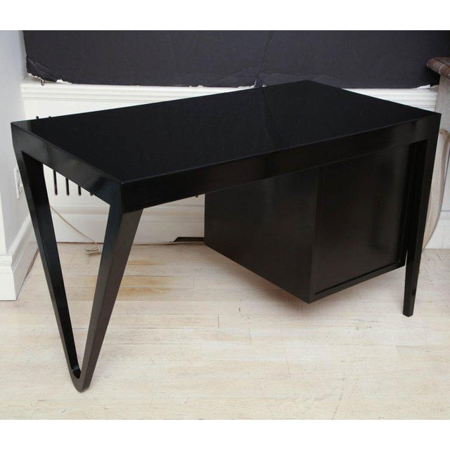 Black Lacquer Desk, Italy, Circa 1970's For Sale - Image 4 of 7
