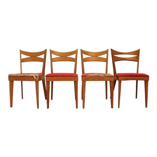 Set of 4 Mid-Century Danish Modern Heywood Wakefield Champagne Dining Chairs For Sale