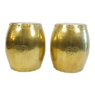 Vintage Chinese Brass Garden Stools - A Pair For Sale