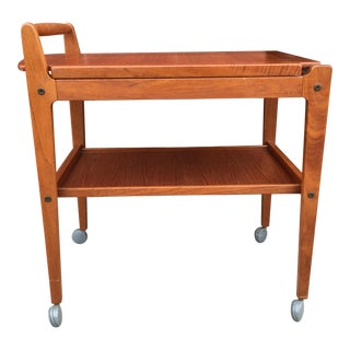 1960s Scandinavian Artie of Sweden Teak Tea Trolley With Removable Top Tray For Sale