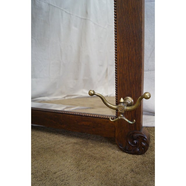 Antique Victorian Oak Carved Hall Mirror - Image 8 of 10