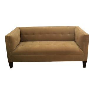 Mid-Century Modern Tufted Tan Fabric Sofa For Sale