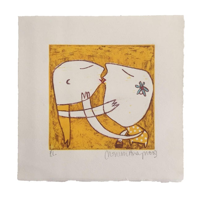 Original Yellow Monoprint by Marina Anaya - Image 1 of 10