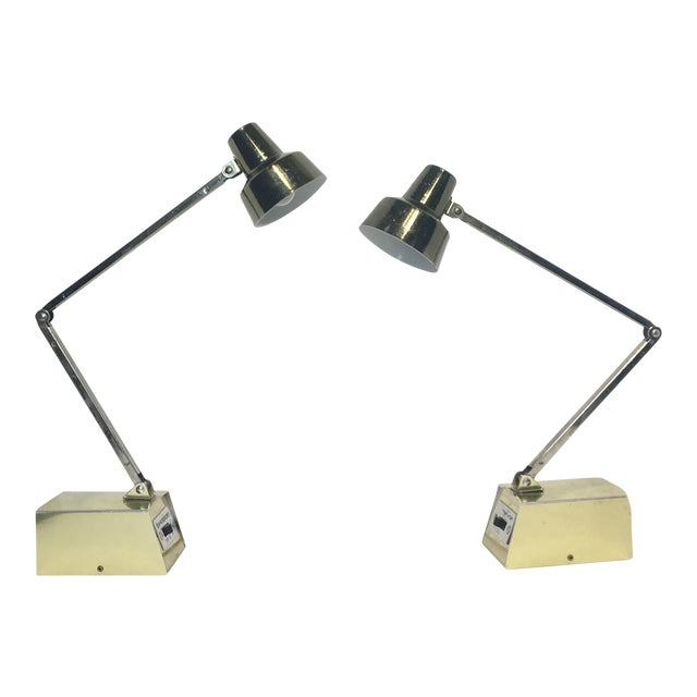 Mid-Century Gold Adjustable Tensor Lamps - A Pair - Image 1 of 7