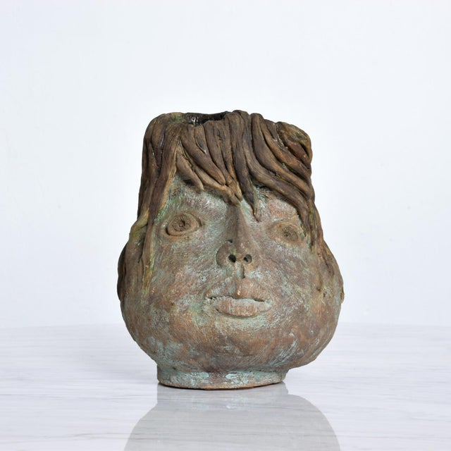 Brutalist Mid-Century Modern Pottery Vase Picasso Attr. For Sale In San Diego - Image 6 of 10