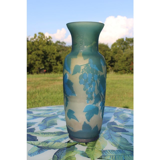 French Turquoise Blue and White Cameo Glass Vase, Signed For Sale - Image 4 of 12