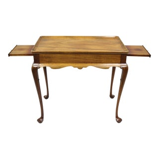 Biggs Furniture Queen Anne Style Mahogany Tea Table With Pull Out Surfaces