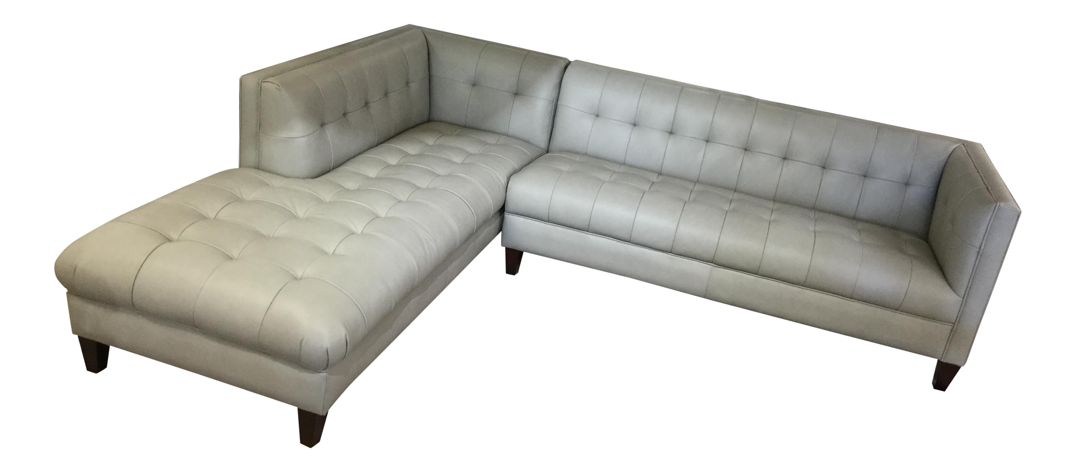 Danish Modern Style Tufted Gray Leather Sectional Sofa W/ Chaise End ...
