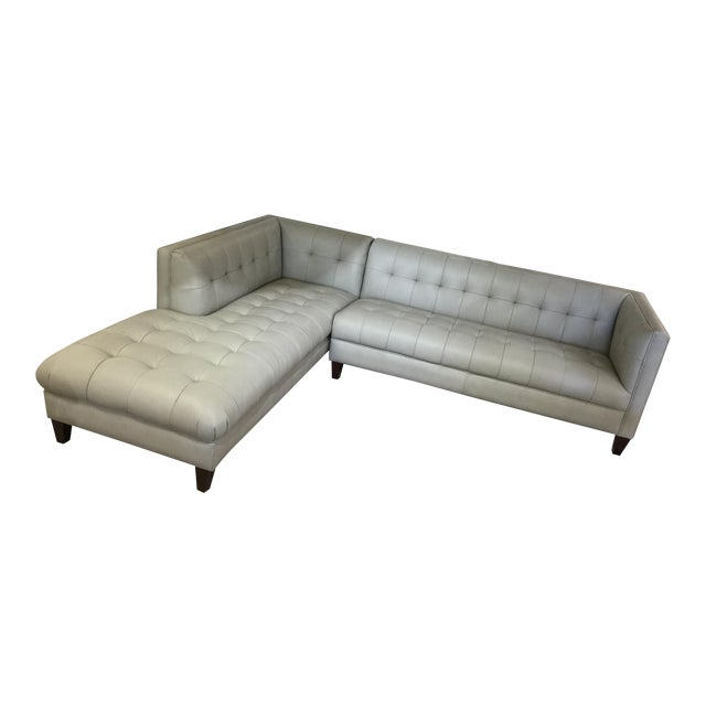 Danish Modern Style Tufted Gray Leather Sectional Sofa W/ Chaise End
