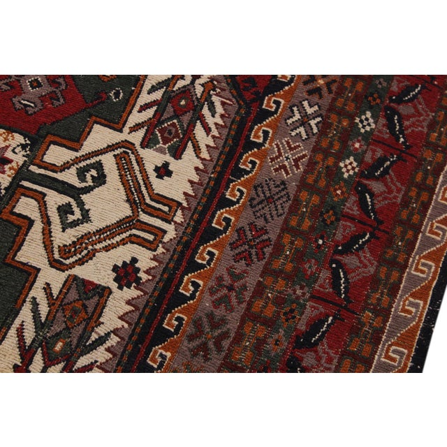"""1950s Antique Tribal Soumakh Sal Wool Rug - 6'2"""" X 8' For Sale - Image 5 of 9"""