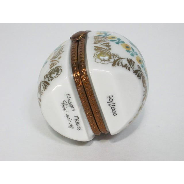 Shabby Chic Limoges France Hand Painted Egg Locket Box For Sale - Image 3 of 4