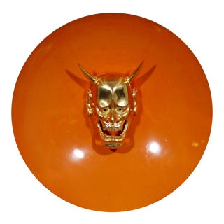 Mid-Century Modern Enameled Dish Gold Gilt Devil Bust Head Wall Sculpture, 1970s For Sale