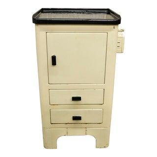 Art Deco Metal Cast Iron Porcelain White Medical Dental Small Bathroom Cabinet For Sale