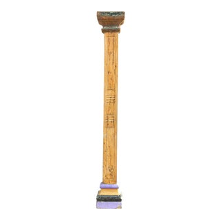 Oxidized Teak and Painted Stone Base Antique Indian Column For Sale