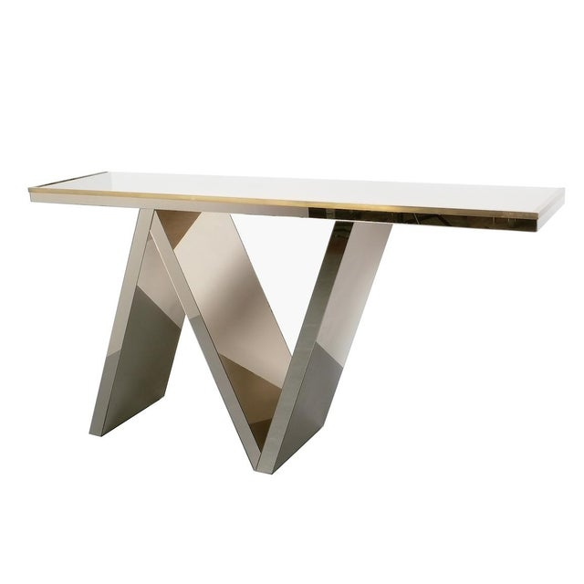 Artisan Zigzag Mirror Brass Console Table Italy, Circa 1970 For Sale - Image 13 of 13