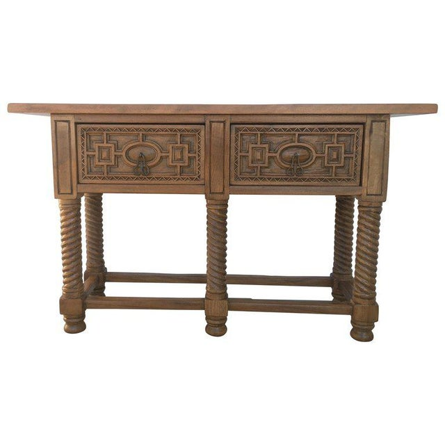 Early 19th Century Carved Walnut Wood Catalan Spanish Console Table For Sale - Image 13 of 13