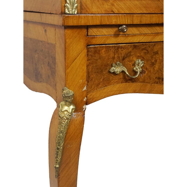 Late 19th Century 19th Century French Louis XV Marquetry Bureau De Dame For Sale - Image 5 of 10