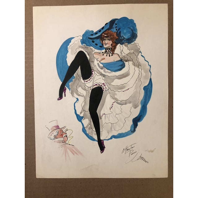 Painting of a Can Can Dancer in aqua by Alice Huertas, painted mid-century, in Paris