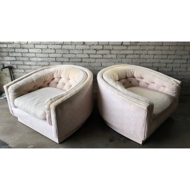 1970s Vintage Mid-Century Milo Baughman Style Tufted Barrel Chairs - A Pair For Sale - Image 5 of 10