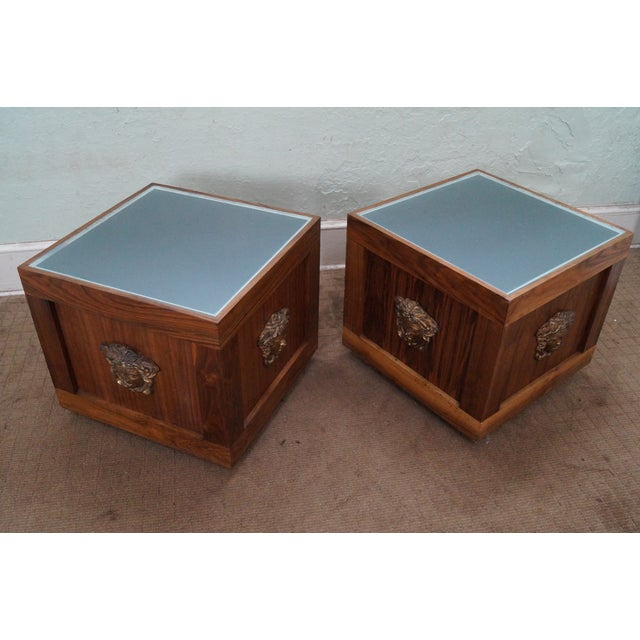 Unusual pair of solid walnut cube end tables w/ glass tops and wiring for lighted interior. Made in USA, approximately 35...
