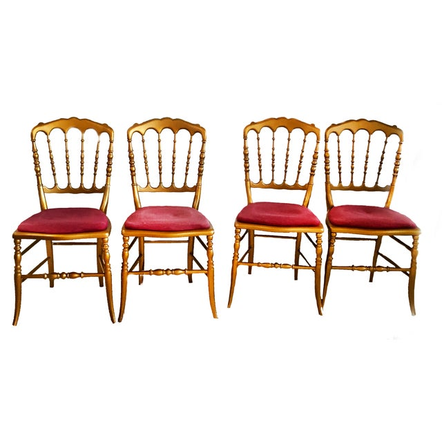 Antique French Spindle Back Chiavari Chairs - S/4 - Image 1 of 6