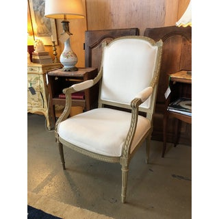 1900s Vintage Louis VI Style Gray Painted Bergere Preview