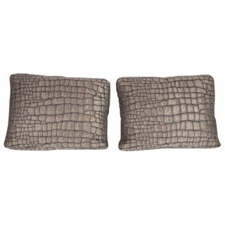 Gauffraged Crocodile Fabric Pillows - a Pair For Sale