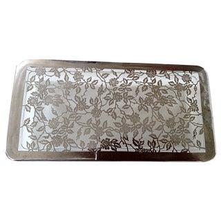 Silver Overlay Glass Cigarette Box For Sale