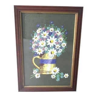 Vintage Framed Flower Needlepoint Picture For Sale