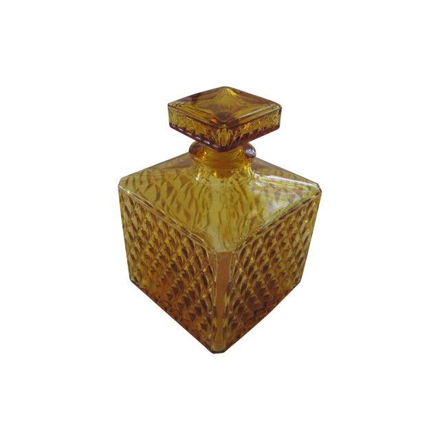 Vintage Amber Glass Diamond Cut Decanter - Image 1 of 4