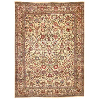 Antique Part Silk Persian Kashan Carpet For Sale