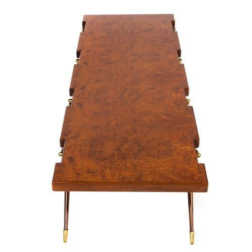 Brown BURL WALNUT AND BRASS 1950S COFFEE TABLE BY ICO PARISI FOR SINGER AND SONS For Sale - Image 8 of 8