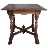 Image of Antique 19th Century Aesthetic Movement Parlor Table Walnut Carved Victorian For Sale