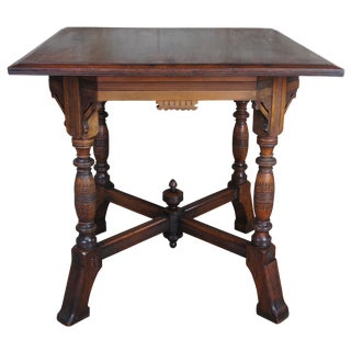 Antique 19th Century Aesthetic Movement Parlor Table Walnut Carved Victorian For Sale