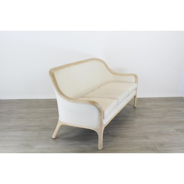 Mid-Century Modern Vintage Cream Reeded Bamboo Sofa, Patio Sofa For Sale - Image 3 of 6