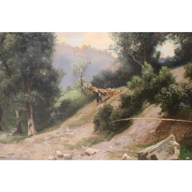 Beautiful antique oil painting on canvas in Impressionist style of the 1880s. about. Excellent pictorial quality some...