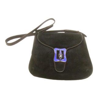1970s Gucci Sterling Silver Tiger Emblem Black Suede Shoulder Bag For Sale