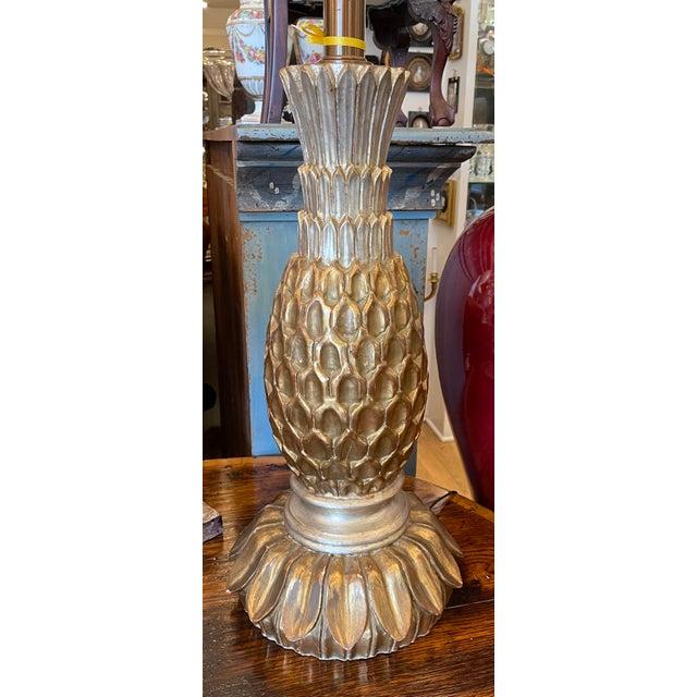 Vintage Giltwood Pineapple Gold & Silver Leaf Table Lamp