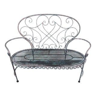 Vintage 1930s Style Copper + Verdigris Finish Outdoor Settee For Sale