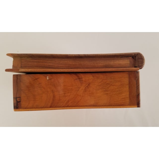 Tan Late 19th Century English Olive Wood Sewing Spool Box For Sale - Image 8 of 10