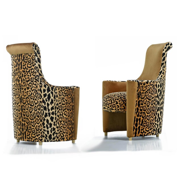 Scroll Headrest Neo Deco Velvet Leopard Print High Back Lounge Chairs For Sale - Image 9 of 9