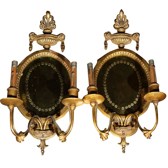 French Gilded Sconces - Pair For Sale