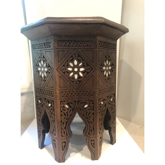 Islamic Moroccan Middle Eastern Style Inlaid Side Table For Sale - Image 3 of 8