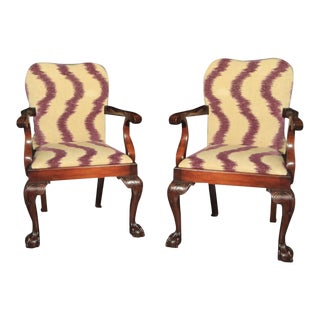 George III Style Mahogany Open Armchairs - a Pair For Sale
